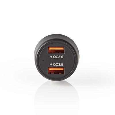 Nedis Autolader, 3,0 A, 2x USB (QC 3.0), Zwart Oplader