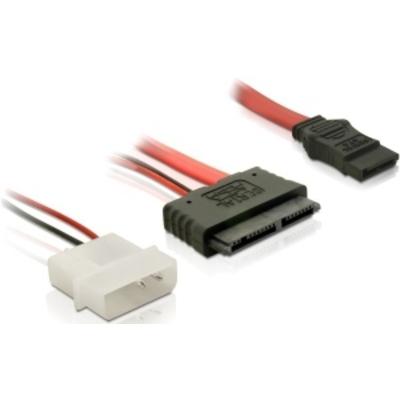 Delock ATA kabel: Cable Micro SATA female + 2Pin Power SATA - Rood