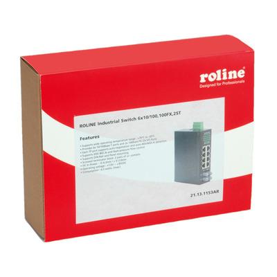 ROLINE Industrial, 6x RJ-45, 2x ST, unmanaged Switch