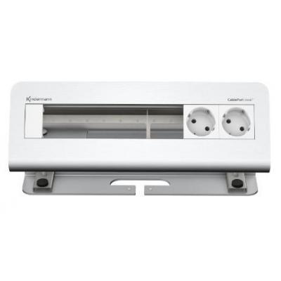 Kindermann 6-fold 2 x mains alu Inbouweenheid - Aluminium, Wit