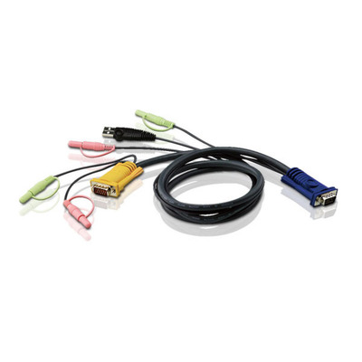 Aten 1.8M USB met 3 in 1 SPHD en Geluid KVM kabel - Zwart