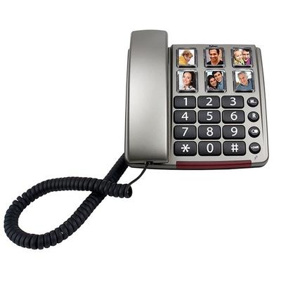Profoon 16 Toesten, Geschikt voor H.A.C., Geluidsversterking 24dB, RVS/Zwart dect telefoon - Zwart, .....