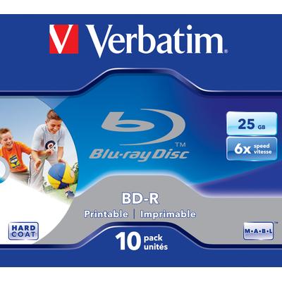 Verbatim BD: BD-R SL 25GB 6x Printable 10 Pack Jewel Case
