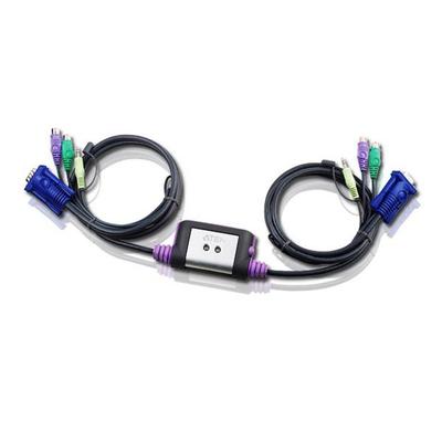 Aten 2 port PS2 KVM & Speaker KVM switch - Zwart
