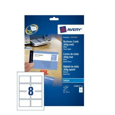 Avery visitiekaart: Visitekaartjes, gladde rand, Inkjet printer, 260 g