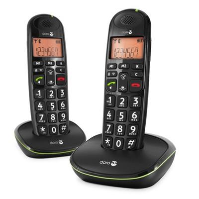 Doro dect telefoon: PhoneEasy 100w Duo - Zwart