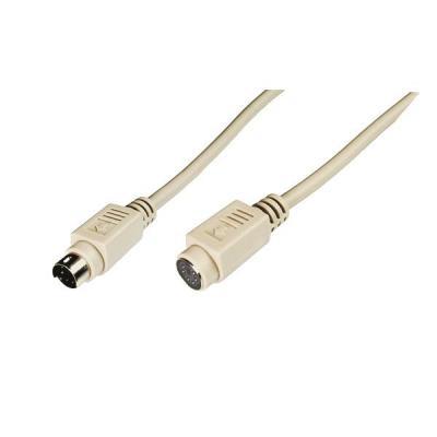 M-cab PS2 kabel: MiniDIN/MiniDIN M/F 5m - Beige