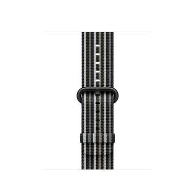 Apple Bandje van geweven nylon - Zwart gestreept (38 mm) - Zwart, Grijs