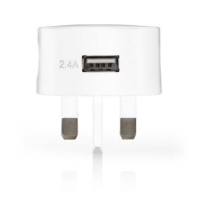Nedis Thuislader, 2,4 A, USB, Wit, UK-stekker Oplader