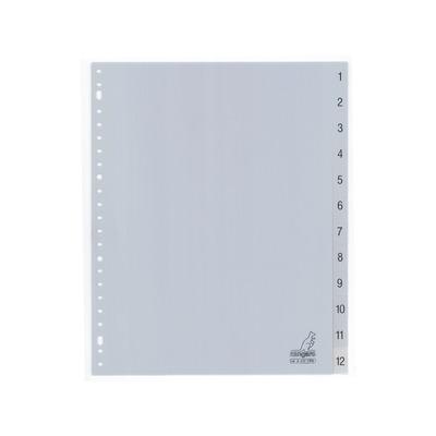 Kangaro Tabblad A4 cijfers PP 120mµ grijs 23r 12dlg EB Indextab