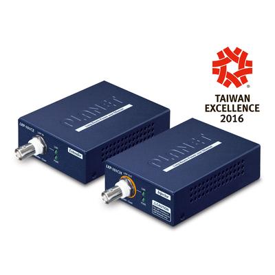 PLANET 1-Port Long Reach PoE over coax Extender Kit (LRP-101CH + LRP-101CE) Netwerk verlenger - Blauw