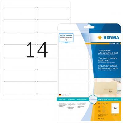 Herma adreslabel: Address labels transparent matt A4 99.1x38.1 mm round corners film 350 pcs. - Transparant