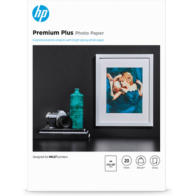 HP Premium Plus glanzend, 20 vel, A4/210 x 297 mm Fotopapier