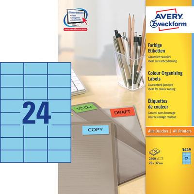 Avery 70 x 37 mm, 2400 pcs, A4, blauw Etiket
