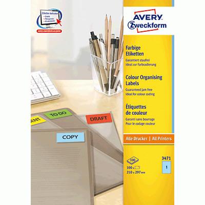 Avery 210 x 297 mm, 100 pcs, A4, blauw Etiket