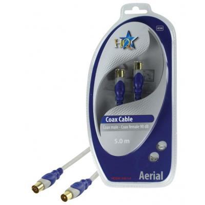 Hq coax kabel: Coax(m)/Coax(f), 5m - Grijs