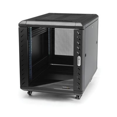 StarTech.com 12U 74 cm diep demonteerbaar serverserverkast met wielen Rack - Zwart