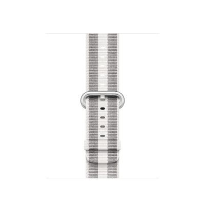 Apple : Bandje van geweven nylon - Wit (gestreept, 38 mm)