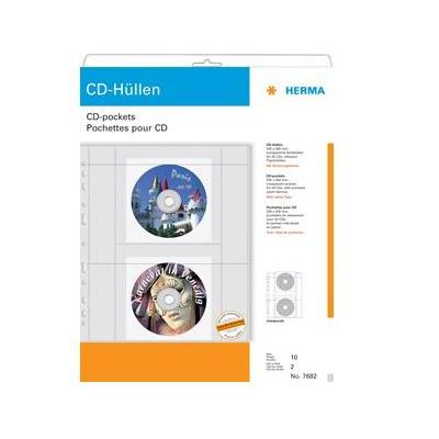 HERMA CD-hoesjes van transparanter folie inkl. papierhüllen 10 St. mediadoos