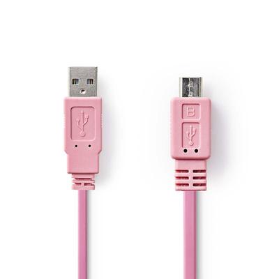 Nedis USB 2.0-Kabel, A Male - Micro-B Male, 1,0 m, Roze USB kabel