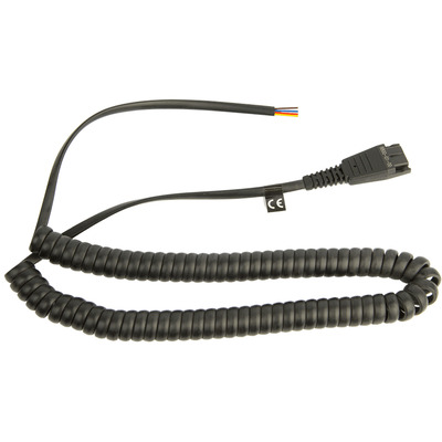 Jabra Cord QD to Open ended coiled cord Telefoon kabel - Transparant,Zwart