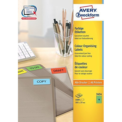 Avery 105 x 37 mm, 1600 pcs, A4, groen Etiket