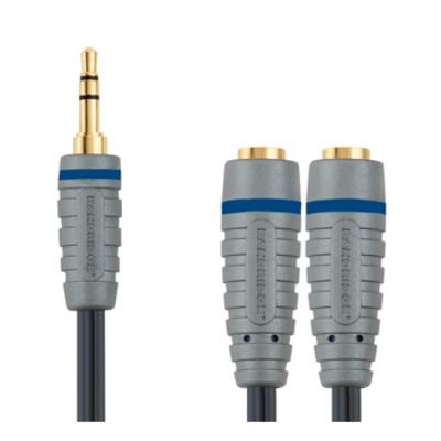 Bandridge kabel splitter of combiner: Hoofdtelefoonsplitter 0.2 m - Blauw