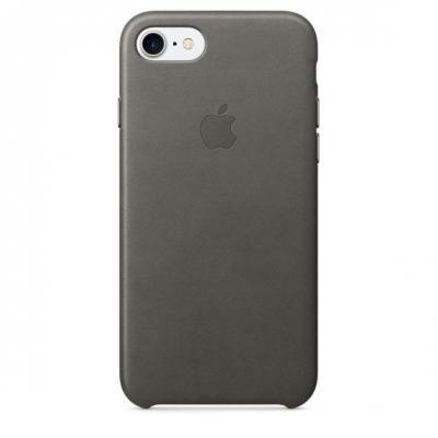 Apple mobile phone case: Leren hoesje voor iPhone 7 - Stormgrijs