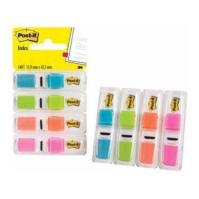 Post-It Index Smal, ft 12 x 43 mm, blister met 4 kleuren, 35 tabs per kleur Indextab