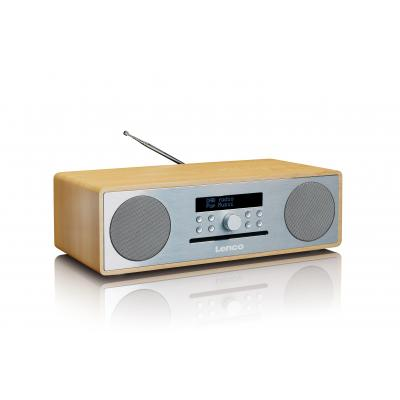 Lenco CD-radio: DAR-070 - Eiken, Zilver