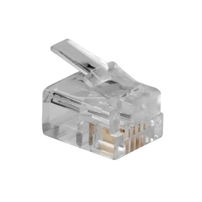 ACT RJ11 (6P/4C) modulaire connector voor ronde kabel met massieve aders Kabel connector - Transparant