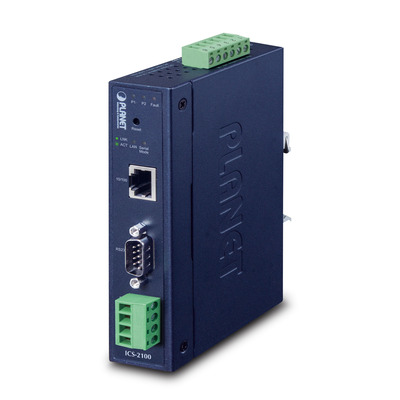 PLANET Industrial RS-232/RS-422/RS-485 over 10/100Base-TX (Copper, RJ-45) Media converter - Blauw