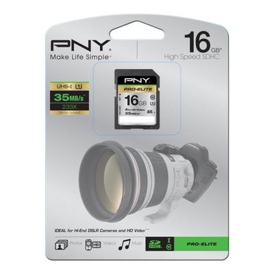 PNY SDHC 16GB Flashgeheugen - Zwart