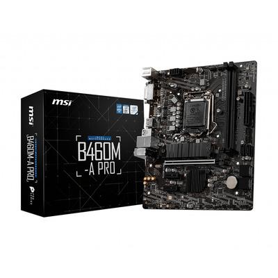 MSI Miro-ATX (23.6 x 19.2 cm), Intel B460, LGA1200, 2 x DDR4 DIMM, 64 GB max, 6 x SATA 6Gb/s, 1 x M.2 , DVI-D, HDMI, .....