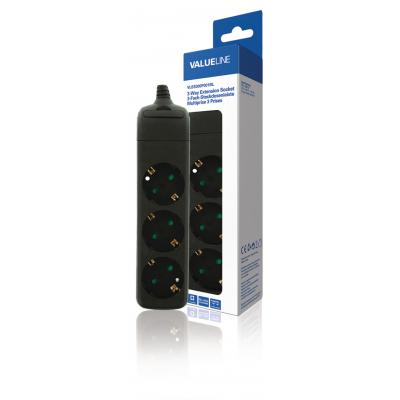 Valueline power extrention: Extension Socket 3-Way Black - Protective Contact - Zwart
