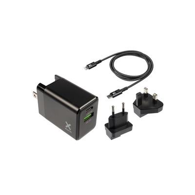 Xtorm USB-C PD, USB A, QC 3.0, 18 W, Lightning Cable, Black Oplader - Zwart