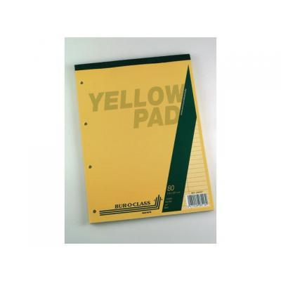 Aurora schrijfblok: Schrijfblok BOC A4 4r ln 80g geel/bl 80v