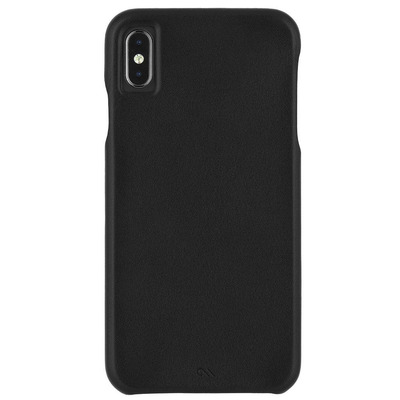 Barely There Leather Backcover iPhone Xs Max - Zwart / Black Mobile phone case