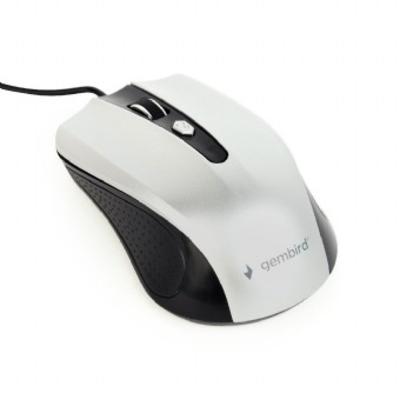 Gembird Optical mouse, USB, 800/1000/1200 DPI Muis - Zwart,Zilver