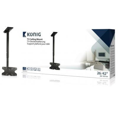 """König flat panel plafond steun: Ceiling mount 26-42""""/ 66-107 cm - 30 kg / 66 lbs - Zwart"""