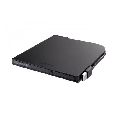 Buffalo Portable DVD Writer, USB 2.0, 480 Mb/s, 220g Brander - Zwart
