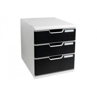 Exacompta brievenbak: Modulo A4 -3 Drawer Classic, Bkack/Grey - Zwart, Grijs
