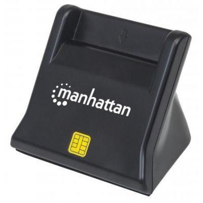 Manhattan smart kaart lezer: USB 2.0, Smart/SIM, 480 Mbps, 63x81x63 mm, 180 g - Zwart