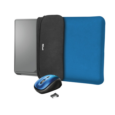 """Trust Yvo Reversible Sleeve for 15.6"""" Laptops with wireless mouse - blue Laptoptas"""