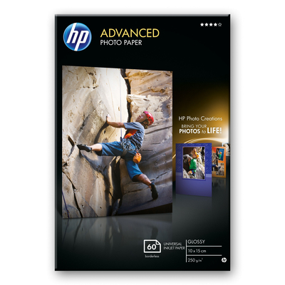 HP Advanced Glossy Photo Paper fotopapier - Zwart, Blauw, Wit