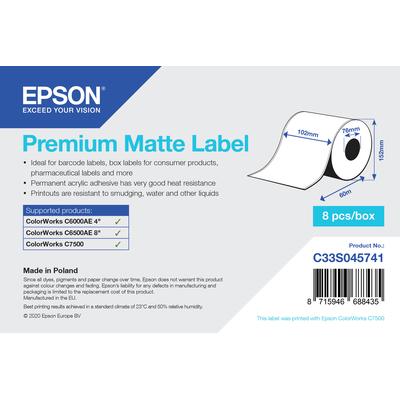 Epson Premium Matte Label - Continuous Roll: 102mm x 60m Etiket