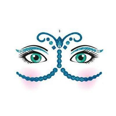 Herma sticker: Face Art Sticker Bollywood - Blauw, Groen, Roze