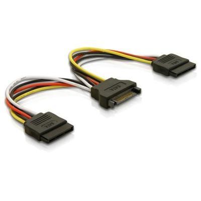 Delock : Cable Power SATA 15pin > 2x SATA HDD – straight - Multi kleuren