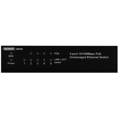 Eminent switch: 5-Poorts 10/100Mbps PoE Switch, 4 PoE poorten - Zwart
