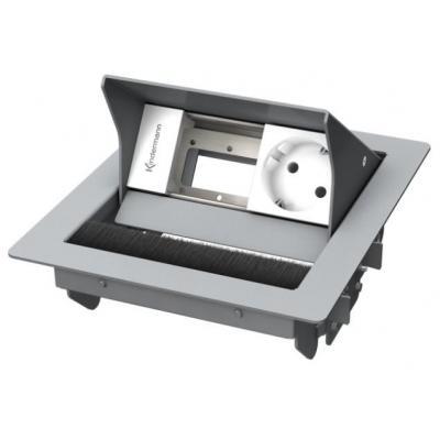 Kindermann CablePort standard 2-fold, 1x mains Inbouweenheid - Grijs, Wit